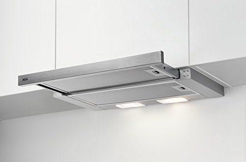 AEG DPB2621S Flachschirm-Dunstabzugshaube / Abluft oder Umluft / 60cm / Silberfarben / max. 120 m³/h / min. 68 - max. 72 dB(A) / D / Kurzhubtasten