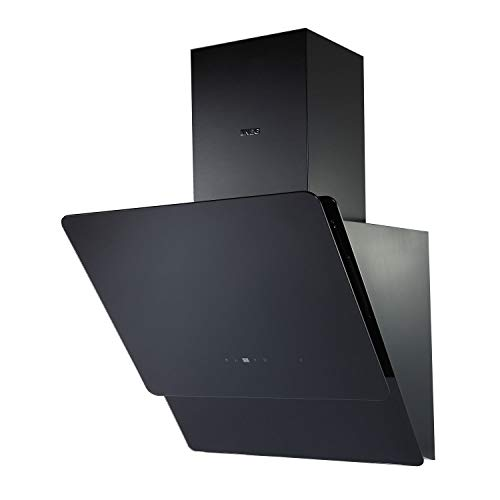 NEG Dunstabzugshaube KF596EKB (Umluft/Abluft) schwarz 60cm kopffrei mit LED-Beleuchtung, Randabsaugung und Fernbedienung, Glas-Front, 5 Motorstufen (max. 850m³/h), sehr leise